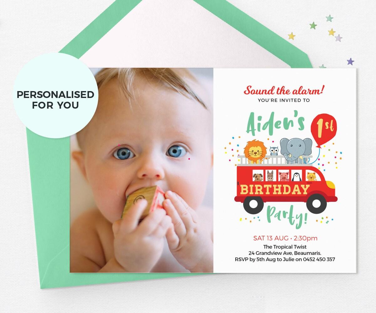 Fire truck photo invites PRINTABLE 1st birthday invitations boy, Zoo ...