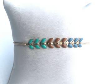 Bracelet COB turquoise.marron.bleu - 13 colors of cords to choose
