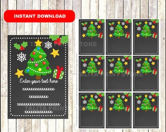 Christmas Tree Gift Tags - Christmas Favor Tags - Christmas present tags - Christmas tree tags - TYPE Your Own Text - Editable