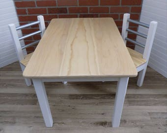 Kids Wood Table Set with Two Chairs / Activity Table