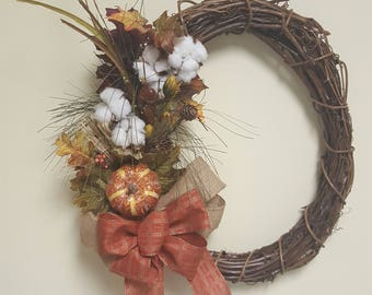 """18"""" grapevine wreath with cotton stem, fall leaves, fall pic, gourds & fall bow"""