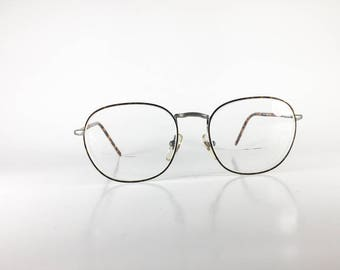 ALBERT NIPON Vintage Eyeglasses Unisex Gold Metal Oval 1990s ALBF593Q-1