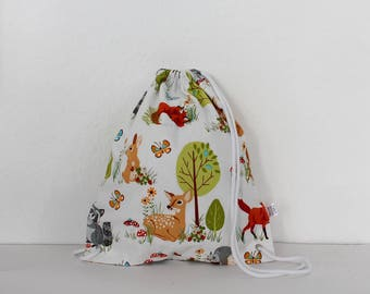 Kids Backpack – forest friends, white