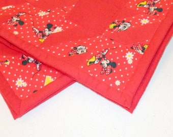 Red and Multi Flannel Baby Quilt