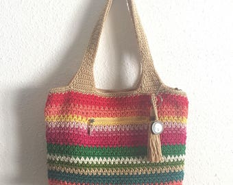 Rainbow Multicolor The Sak Handbag Purse • Vintage Crochet Purse
