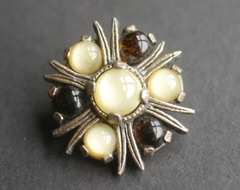 Celtic Scottish Miracle faux agate vintage silver tone brooch with brown and pale yellow stones, signed brooch