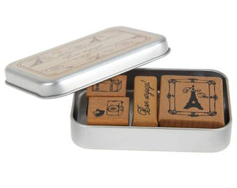 Tampon bois 4 pièces set de «bon voyage»