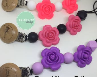 Silicone Rose Pacifier clips - lightweight pacifier clip - chew beads - teething - teethe - silicone beads - paci - soother clip - baby girl