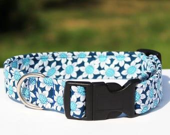 Blue Daisy Collar, Flower Dog Collar, Navy Blue & Aqua Blue Flowers, Vibrant Dog Collar, Cute Dog Collar, Handmade Unique Pet Collar