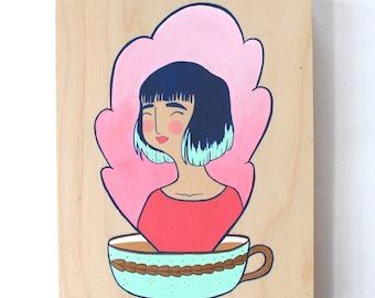 Wood Block Painting - Coffee Head (Minty Mug)