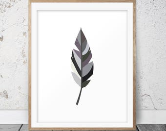 Black Feather, Printable Art, Feather Poster, Wall Art, Feather Wall Art, Feather Decor, Printable Download, Home Decor, Scandinavian, 130