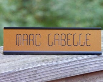 """Unique Name Plate - Office Gifts - Custom Engraved - Diamond Gothic - 8""""x2"""""""