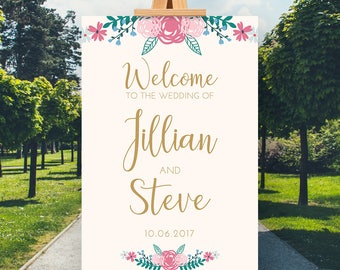 Cream Gold Floral Welcome Sign, CUSTOM Printable Wedding Welcome Sign, Welcome Wedding Printable, Wedding Sign, Wedding Poster Board