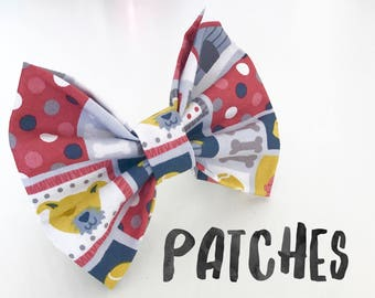 Patches Dog Bow Tie