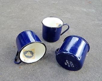 Vintage enamel cups / Violet cup / Blue cups / Soviet mugs / Mug 3 pcs USSR