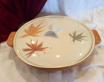 1950s Informal by Iroquois atomic china Harvest Time covered serving bowl/Casserole dish