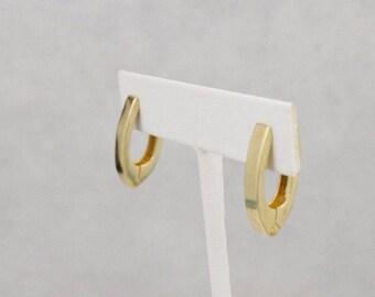 14k Yellow Gold Hinged Long Oval Hoop Earrings 5.5 Grams(512233037)