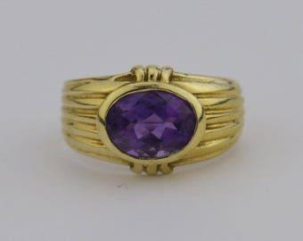 14k Yellow Gold Estate Amethyst Ring Size 4(02116)