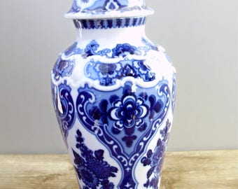 Tall Vintage German Wallendorf porcelain vase,urn,stamped,blue and white