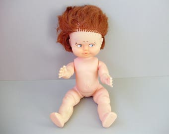Lovely vintage doll,1980s,rubber doll