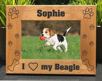 Personalized Engraved Beagle Photo Frame Picture Gift Custom Pet Dog