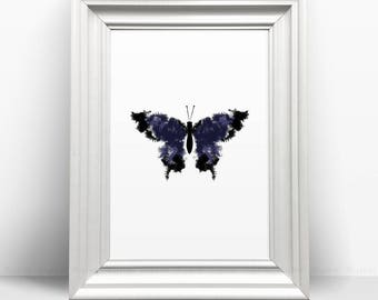 Butterfly Printable, Black And Navy Blue Watercolor Wings, Nursery Print, Tumblr Wall Art Animal Poster, Modern Home Decor, Abstract Prints.
