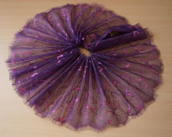 1.50 meters x 17 cm Ref 1542 purple chantilly lace