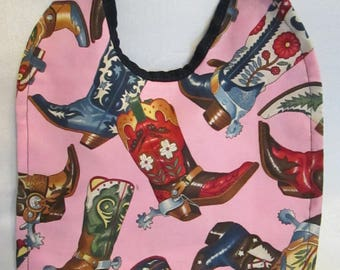 Cowgirl Boots! Colorful! Reversible! Baby Bib!
