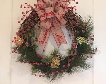 Christmas, Christmas Wreath, Christmas Door Wreath, Christmas Grapevine Wreath, Grapevine Wreath, Front Door Wreath, Christmas Door Decor