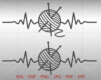 Heartbeat Knitting SVG, EKG Knitting Clipart DXF Silhouette Cricut Cut File Vector Commercial Use