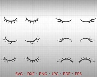 Eyelash Svg  Silhouette Cricut Cut Files  (svg, dxf, eps, png, jpg, pdf)