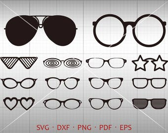 Sunglass SVG, Sunglass Clipart, Vector DXF Cutting Template for Silhouette Studio & Cricut Commercial Use