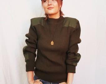 Vintage 80s' Military Khaki Wool Sweater. Green Sweater. Size L