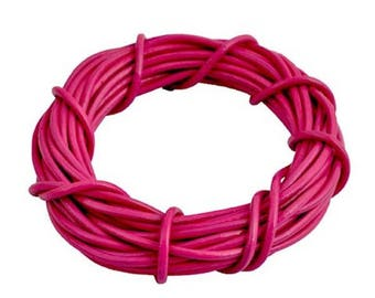 Pink genuine leather cord 2 mm - 1 M