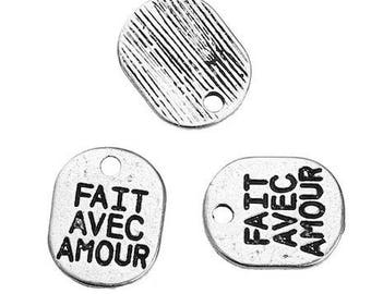 """10 charms Rectangle antique silver engraved words """"made with love"""" 10 x 8mm"""