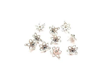 30 posts earring studs flower shape with blue rhinestones