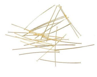 100 needle studs / posts-flat long. 30 mm - color gold