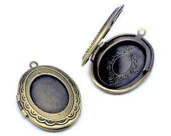 Oval Locket pendants 1 door Photo color Bronze