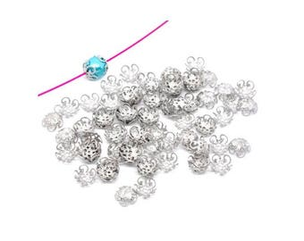 500 Cup filigree flower silver matte hollow (suitable for bead 10mm)