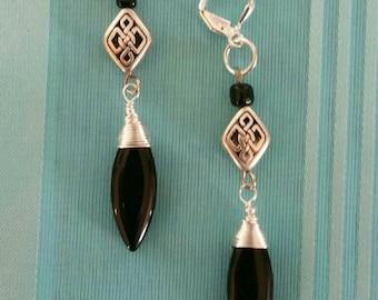 Jet Silver Wrapped Earrings