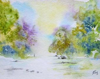 Small original watercolor in the light of nature