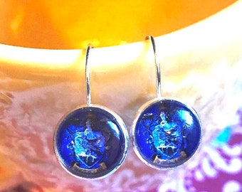 Handmade Ravenclaw Harry Potter glass cabochon earrings - 16mm