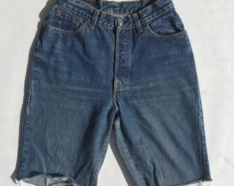 Vintage 28 Waist Levi 501 Button Fly High Waist jean Shorts | levi Denim cut offs | levi short | vintage jean shorts raw hem | Birkin Short