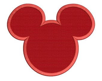 Mickey Mouse Applique Machine Embroidery Design 4 sizes instant download