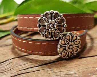 Leather bracelet; Leather wrap bracelet; Leather choker; Flower bracelet; Choker;  Unisex leather bracelet;  Silver bracelet