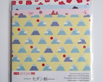 """Paper origami washi chiyogami 15 x 15 cm """"mount fuji"""" 20 sheets"""