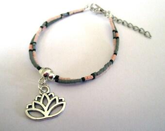 Bracelet multi-row - pearls miyuki and lotus flower - pink and gray