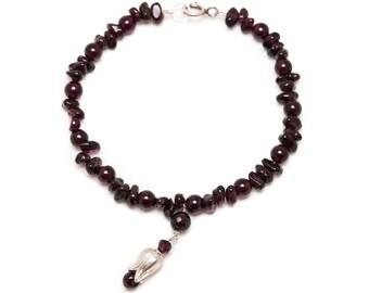 Dark Red Garnet Gemstones and Silver Charm