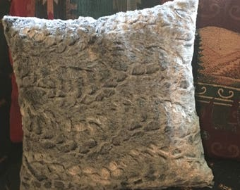 Gray Faux Rabbit Fur Pillow