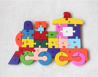 Wooden Puzzles for 3+ Baby, Toddlers, Animal puzzle, kids toys, snail, elephant, train, giraffe, ship, snake, plane, crab, Excavating car